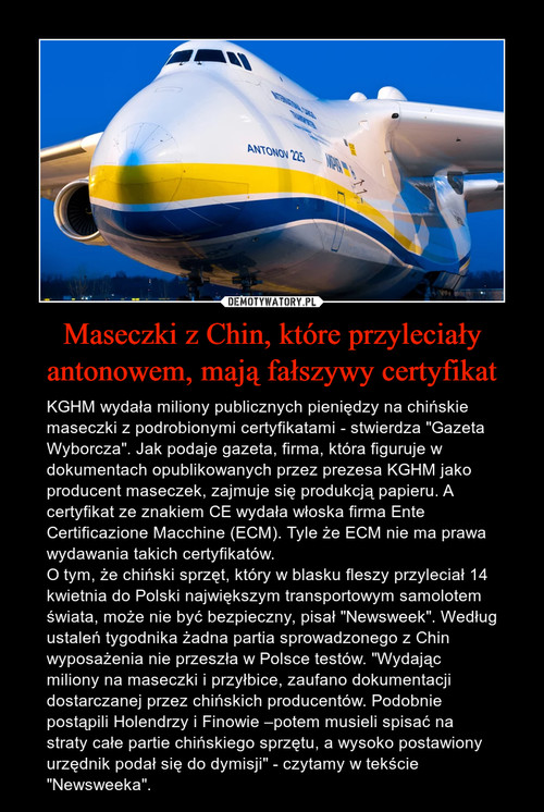Maseczki z Chin, które przyleciały antonowem, mają fałszywy certyfikat