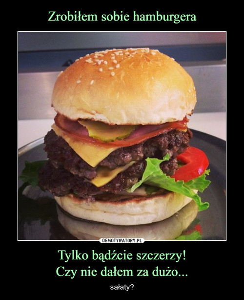 Zrobiłem sobie hamburgera Tylko bądźcie szczerzy! Czy nie dałem za dużo...