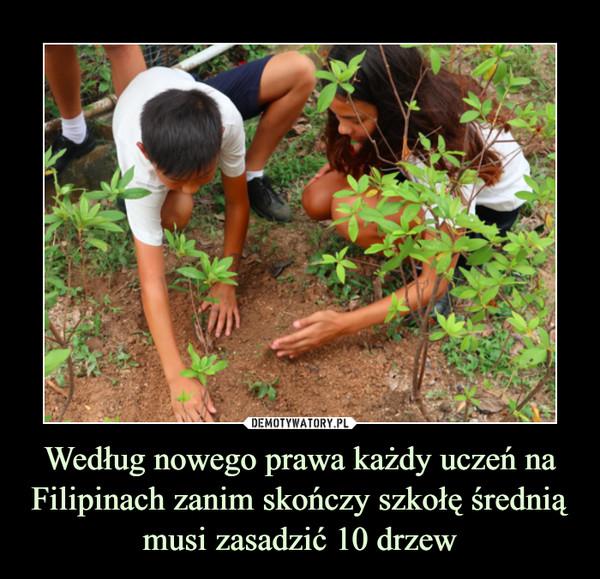 Według nowego prawa każdy uczeń na Filipinach zanim skończy szkołę średnią musi zasadzić 10 drzew –