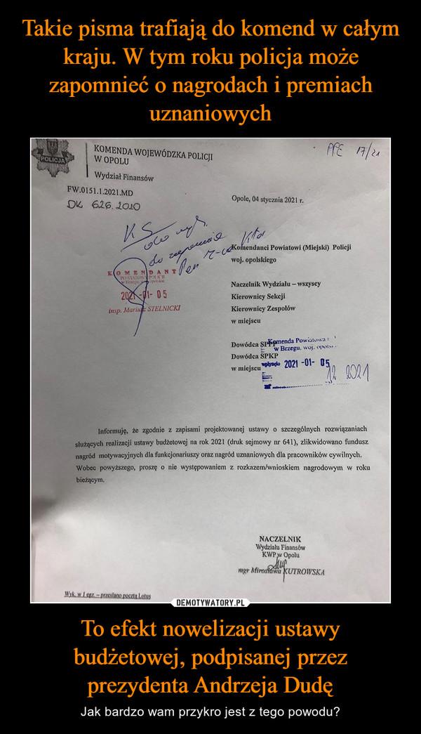 To efekt nowelizacji ustawybudżetowej, podpisanej przezprezydenta Andrzeja Dudę – Jak bardzo wam przykro jest z tego powodu?