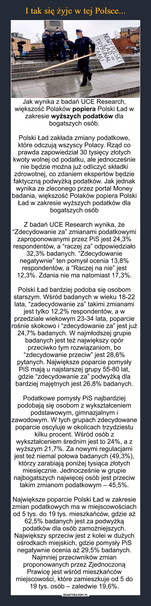 """–  Jak wynika z badań UCE Research, większość Polaków popiera Polski Ład w zakresie wyższych podatków dla bogatszych osób.Polski Ład zakłada zmiany podatkowe, które odczują wszyscy Polacy. Rząd co prawda zapowiedział 30 tysięcy złotych kwoty wolnej od podatku, ale jednocześnie nie będzie można już odliczyć składki zdrowotnej, co zdaniem ekspertów będzie faktyczną podwyżką podatków. Jak jednak wynika ze zleconego przez portal Money badania, większość Polaków popiera Polski Ład w zakresie wyższych podatków dla bogatszych osóbZ badań UCE Research wynika, że """"Zdecydowanie za"""" zmianami podatkowymi zaproponowanymi przez PiS jest 24,3% respondentów, a """"raczej za"""" odpowiedziało 32,3% badanych. """"Zdecydowanie negatywnie"""" ten pomysł ocenia 13,8% respondentów, a """"Raczej na nie"""" jest 12,3%. Zdania nie ma natomiast 17,3%.Polski Ład bardziej podoba się osobom starszym. Wśród badanych w wieku 18-22 lata, """"zadecydowanie za"""" takimi zmianami jest tylko 12,2% respondentów, a w przedziale wiekowym 23-34 lata, poparcie rośnie skokowo i """"zdecydowanie za"""" jest już 24,7% badanych. W najmłodszej grupie badanych jest też największy opór przeciwko tym rozwiązaniom, bo """"zdecydowanie przeciw"""" jest 28,6% pytanych. Największe poparcie pomysły PiS mają u najstarszej grupy 55-80 lat, gdzie """"zdecydowanie za"""" podwyżką dla bardziej majętnych jest 26,8% badanych.Podatkowe pomysły PiS najbardziej podobają się osobom z wykształceniem podstawowym, gimnazjalnym i zawodowym. W tych grupach zdecydowane poparcie oscyluje w okolicach trzydziestu kilku procent. Wśród osób z wykształceniem średnim jest to 24%, a z wyższym 21,7%. Za nowymi regulacjami jest też niemal połowa badanych (49,3%), którzy zarabiają poniżej tysiąca złotych miesięcznie. Jednocześnie w grupie najbogatszych najwięcej osób jest przeciw takim zmianom podatkowym – 45,5%.Największe poparcie Polski Ład w zakresie zmian podatkowych ma w miejscowościach od 5 tys. do 19 tys. mieszkańców, gdzie aż 62,5% badanych jest za podwyżką podatków dla osób zam"""
