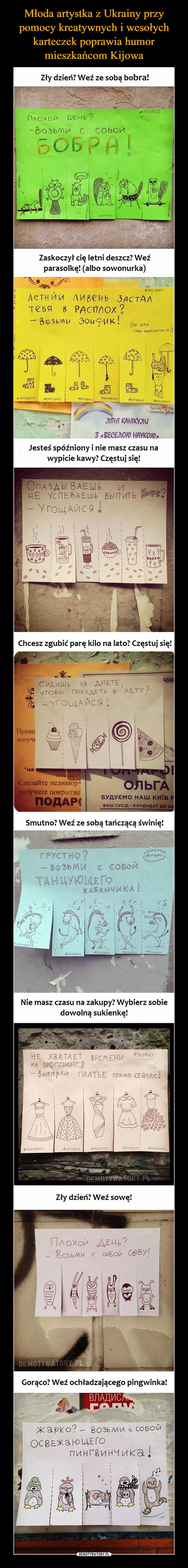Młoda artystka z Ukrainy przy pomocy kreatywnych i wesołych karteczek poprawia humor mieszkańcom Kijowa
