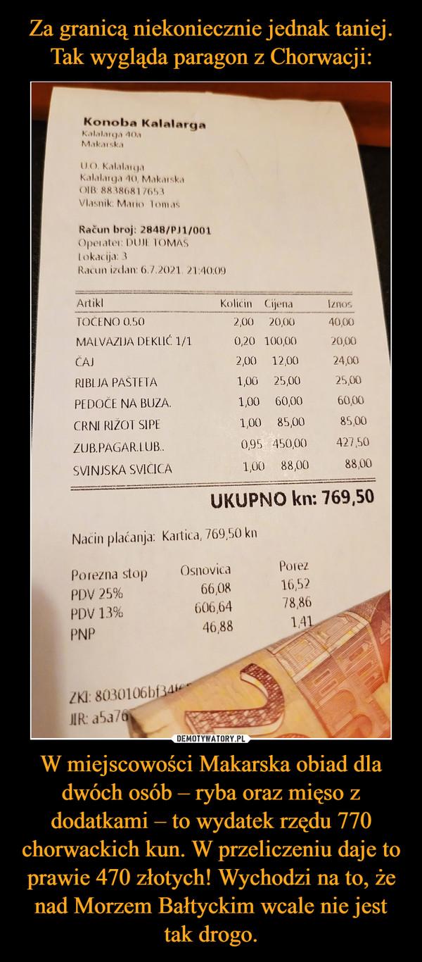 W miejscowości Makarska obiad dla dwóch osób – ryba oraz mięso z dodatkami – to wydatek rzędu 770 chorwackich kun. W przeliczeniu daje to prawie 470 złotych! Wychodzi na to, że nad Morzem Bałtyckim wcale nie jest tak drogo. –