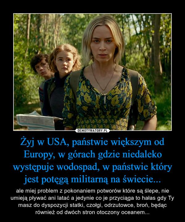 Żyj w USA, państwie większym od Europy, w górach gdzie niedaleko występuje wodospad, w państwie który jest potęgą militarną na świecie...