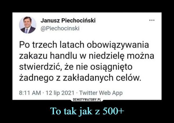 To tak jak z 500+ –  r*>    Janusz Piechociński(©PiechocińskiPo trzech latach obowiązywaniazakazu handlu w niedzielę możnastwierdzić, że nie osiągniętożadnego z zakładanych celów.8:11 AM ■ 12 lip 2021 • Twitter Web App