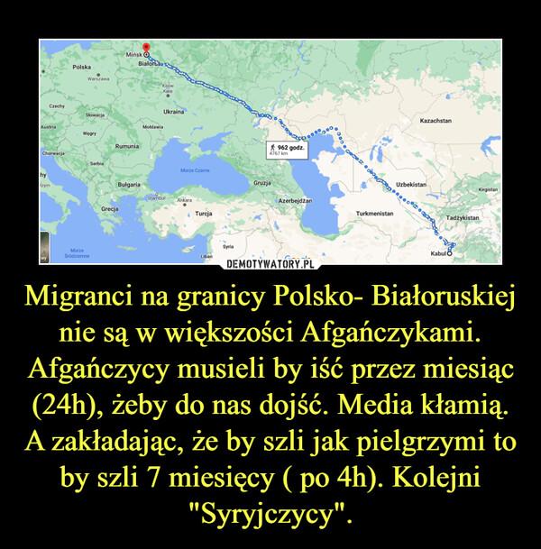 """Migranci na granicy Polsko- Białoruskiej nie są w większości Afgańczykami. Afgańczycy musieli by iść przez miesiąc (24h), żeby do nas dojść. Media kłamią. A zakładając, że by szli jak pielgrzymi to by szli 7 miesięcy ( po 4h). Kolejni """"Syryjczycy"""". –"""