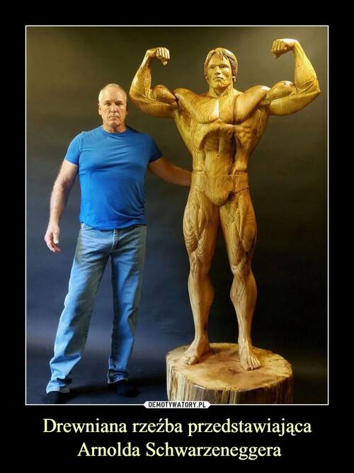 Drewniana rzeźba przedstawiająca  Arnolda Schwarzeneggera