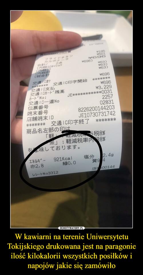W kawiarni na terenie Uniwersytetu Tokijskiego drukowana jest na paragonie ilość kilokalorii wszystkich posiłków i napojów jakie się zamówiło