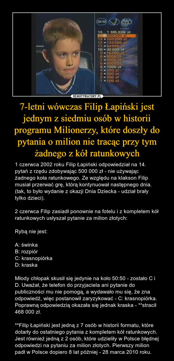 7-letni wówczas Filip Łapiński jest jednym z siedmiu osób w historii programu Milionerzy, które doszły do pytania o milion nie tracąc przy tym żadnego z kół ratunkowych – 1 czerwca 2002 roku Filip Łapiński odpowiedział na 14. pytań z rzędu zdobywając 500 000 zł - nie używając żadnego koła ratunkowego. Ze względu na klakson Filip musiał przerwać grę, którą kontynuował następnego dnia. (tak, to było wydanie z okazji Dnia Dziecka - udział brały tylko dzieci).2 czerwca Filip zasiadł ponownie na fotelu i z kompletem kół ratunkowych usłyszał pytanie za milion złotych:Rybą nie jest:A: świnkaB: rozpiórC: krasnopiórkaD: kraskaMłody chłopak skusił się jedynie na koło 50:50 - zostało C i D. Uważał, że telefon do przyjaciela ani pytanie do publiczności mu nie pomogą, a wydawało mu się, że zna odpowiedź, więc postanowił zaryzykować - C: krasnopiórka. Poprawną odpowiedzią okazała się jednak kraska - **stracił 468 000 zł.**Filip Łapiński jest jedną z 7 osób w historii formatu, które dotarły do ostatniego pytania z kompletem kół ratunkowych. Jest również jedną z 2 osób, które udzieliły w Polsce błędnej odpowiedzi na pytaniu za milion złotych. Pierwszy milion padł w Polsce dopiero 8 lat później - 28 marca 2010 roku.