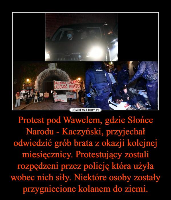 Protest pod Wawelem, gdzie Słońce Narodu - Kaczyński, przyjechał odwiedzić grób brata z okazji kolejnej miesięcznicy. Protestujący zostali rozpędzeni przez policję która użyła wobec nich siły. Niektóre osoby zostały przygniecione kolanem do ziemi. –