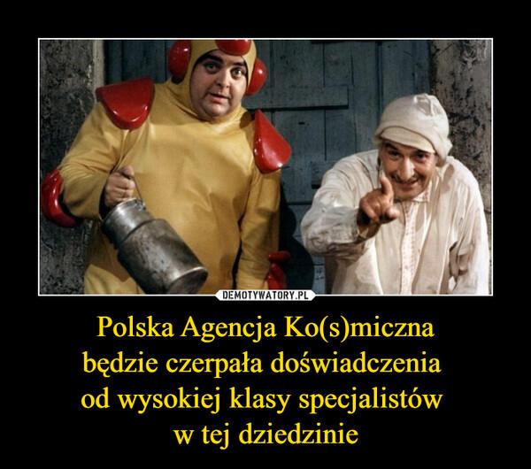 Polska Agencja Ko(s)micznabędzie czerpała doświadczenia od wysokiej klasy specjalistów w tej dziedzinie –